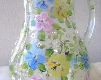 hand painted glass pitcher with pansies, Mothers Day, wedding , flower vase,