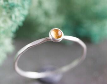 Citrine ring - skinny silver stackable ring with golden citrine faceted gemstone, November birthstone, sterling silver, 9k gold