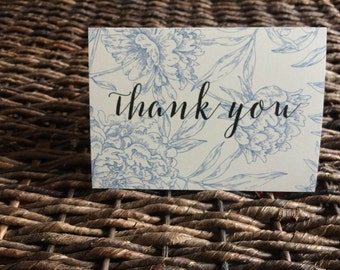 Blue Floral Thank You Cards, Set of 10 Thank You Cards, Special Occasion or Everyday Use Thank You Notes