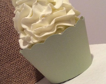 Sage Green Cupcake Wrappers, Pear Green, Wedding Cupcake Wrappers