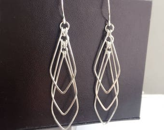 Geometric Earrings in Silver, Dangle Earrings, Trendy Earrings, Long Geometric Earrings, V shape Geometric - for Her, byJTSjewelry