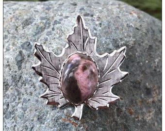 Rhodonite Maple Leaf Pin