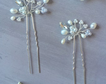 Elena Hair Pins - Two Wedding Hair Pins, bridal hair accessories, pearl, crystal, diamante
