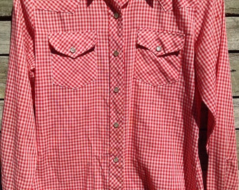 1960's 'Wrangler Authentic Western Shirt for Females' Red and White Gingham Check Shirt