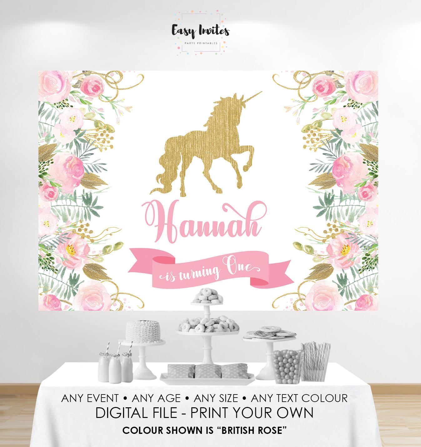 Unicorn Birthday Banner Unicorn Backdrop Baby Shower Floral