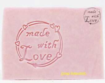 SoapRepublic 'Made with love' 35x35mm Acrylic Soap Stamp / Cookie Stamp / Clay Stamp