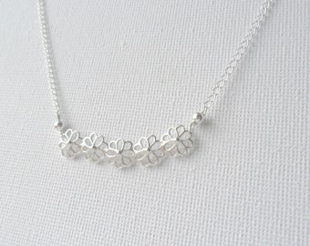 Delicate Sterling Silver Necklace  Flower bar Whimsical Necklace Simple Everyday Necklace Layering Necklace  Romantic Jewelry gift for her