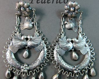 "FEDERICO~""Doves of Love""~Elaborate~Ornate~Filigree~Cascabel~925 Oaxaca Earrings~Free Shipping"