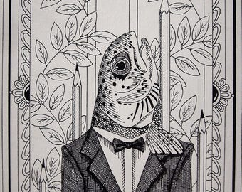 """Funky Surreal Pen and Ink Bass Print // 8 1/2 x 12"""""""