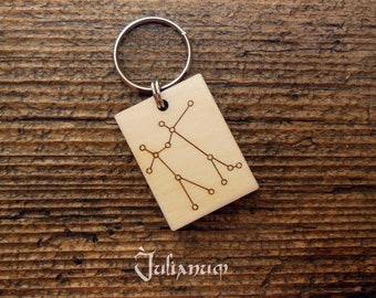 Wooden Gemini key ring, Gemini constellation key chain, June birthday gift, gift for him, gift for her, Gemini man, astrology gift