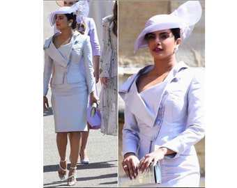 stunning draped collar suit or pencil dress custom made all sizes cocktail wedding