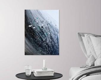 Impulse - Acrylic Abstract Flowers, Original Painting Decor - Black, White and Aqua