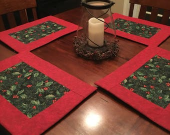 Holly Holiday Placemats-set or 4