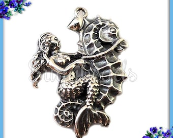 1 Sterling Silver Mermaid Riding a Seahorse Pendant - Sterling Mermaid Pendant, Silver Seahorse ND27