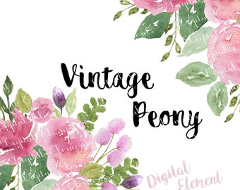 Floral Clip-art, Watercolor Flower Clip-art, Pink Peony Florals, Watercolor Pink Peony, Watercolor Clip-art. No. WC44