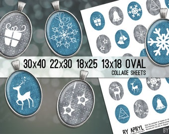 Christmas Digital Collage Sheet Blue and Grey 30x40 22x30 18x25 13x18  Oval Images for Glass and Resin Pendants Cameos Paper Craft