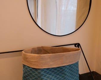 Coated cotton/linen fabric basket