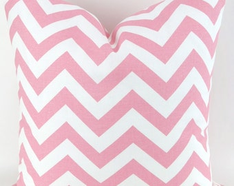 Pink Zigzag Pillow Cover -MANY SIZES- chevron baby white decorative throw euro sham custom cushion modern contemporary nursery kids girl