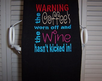 Black kitchen towel with machine embroidery coffee and wine quote