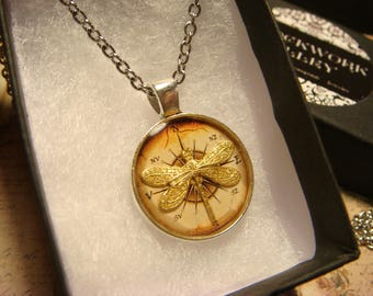 Small Dragonfly over Compass  Pendant Necklace (2449)