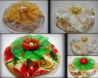 """5"""" Organza handmade Christmas Flowers for craft  in 5 different types, set of 1 flower"""