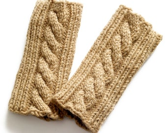 Cable Knit Fingerless Gloves, Beige Knitted Gloves, Cable Knit Mittens, Finger Free Gloves Mittens, Winter Wool Gloves, Knitted Mittens
