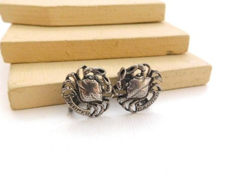 Vintage Silver Tone Zodiac Cancer Crab Astrology Clip On Earrings J30