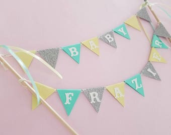 Cake bunting topper in yellow, mint, aqua and silver cake. PERSONALIZED.  Birthday, baby shower, bridal shower.