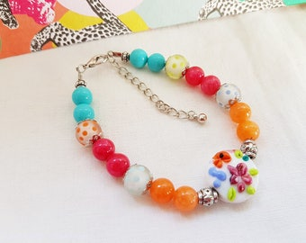Romantic, chic and colorful, cameos, mother of Pearl and Lampwork Glass, Turquoise, pink, orange beads, gift bracelet women, mothers day.