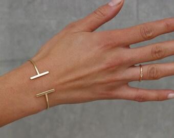 gold open BANGLE- bar bangle-Gold plated silver bangle-dainty bracelet-Gold Cuff Bracelet