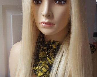 Platinum Blonde (#613)  Human Hair U part Wig Side Part or  Middle part. Hand Made