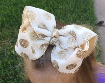 Burlap Hair Bow, Burlap Bow, Burlap and Gold Bow, Burlap HairBow, Glitter Bows, Burlap and Gold, Gold Polka dot Bow