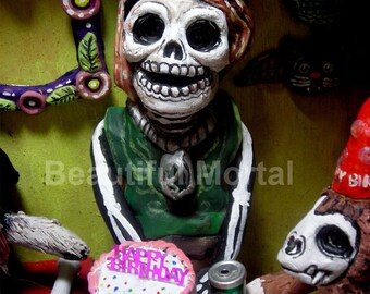 Beautiful Mortal Dia De Los Muertos Birthday Skeleton PRINT 477 Reproduction