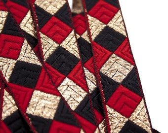 Ribbon, Jacquard, Square, Red, Black, Gold, Cotton, Polyester, 2.1 cm x 100 cm