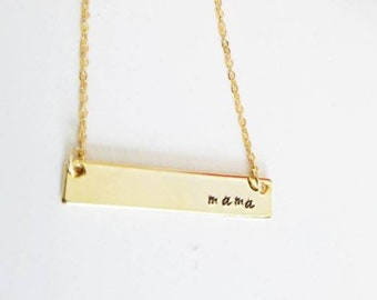 Mama Necklace - Stamped Necklace - Custom Made Jewelry - Gift for Mom - Mama Bar Necklace - Mother's Day Jewelry - Gold Bar Necklace