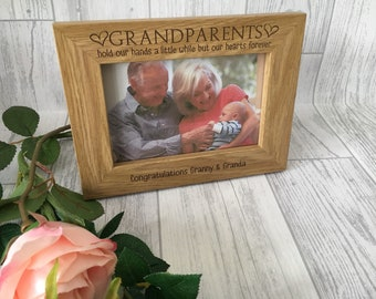 """Personalised grandparents frame 6x4"""" 5x7"""" 6x8"""" A4 engraved wooden frame - grandchild - quote frame"""