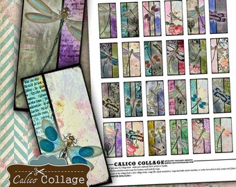 Grunge Dragonflies, Collage Sheet, Dragonfly, Domino Images, 1x2 Collage Sheet, Grunge Images, Vintage Dragonflies, Printable Images