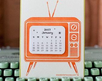 letterpress TV mini calendar 2018
