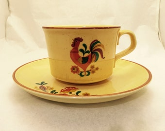 Vintage Taylor Smith & Taylor Reveille Rooster Tea Cup and Saucer Set