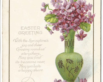 """Purple Violets in Green Vase Decorated with Purple Asters  Poem """"Easter Greetings"""" """"With Springtime's joy...""""in Easter Card Vintage Postcard"""