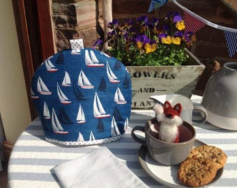 Tea Cosy in nautical boat fabric for a small tea pot with contrast spot lining. Sailing boat tea cizy