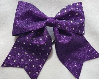 Purple Glitter with Rhinestones Hairbow