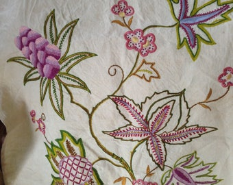 1940's fine embroidery on linen. 34x22 inches. Good
