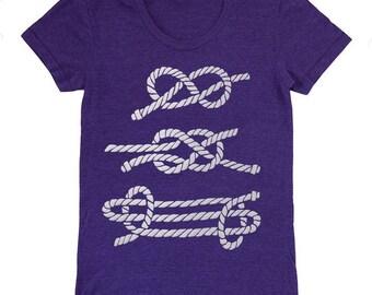 Nautical Knots - Womens Fitted T-Shirt Tee Shirt Ocean Sail Preppy Ship Boating Sea Sailing Boat Rope Indigo Maritime Navy Sailboat Tshirt