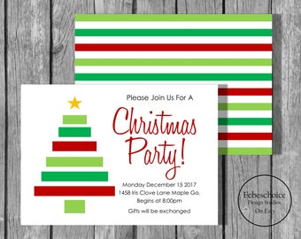 Christmas Invitations / Christmas Party Invitations / Printable Christmas Invitations / Christmas Tree Party Invitations / Party Invite