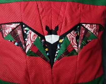 Christmas Paper Piecing Quilted Bat Pillowcase