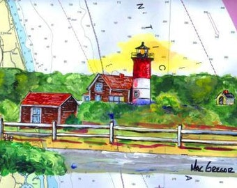 Nauset Beach Lighthouse Art Print  ( Nauset Beach Light, is located on Nauset Beach off Cable Road in Cape Cod National Seashore Eastham MA