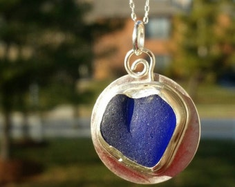 Davenport Sea Glass Pendant. Cobalt Blue Heart Sea Glass Necklace. Sea Glass Jewelry. Cobalt Blue Sea Glass Pendant. Sterling Silver Jewelry