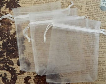 10 white ORGANZA sleeves 9 x 7 cm for gifts