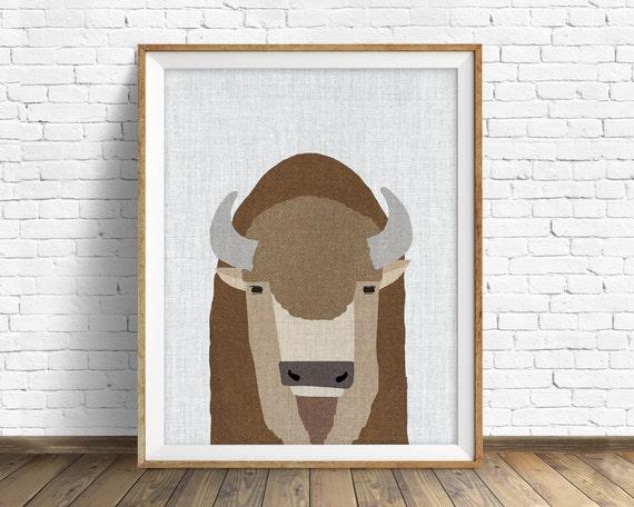 Buffalo - art print, large art, mid century modern wall art, art for kids, nursery decor, nursery wall art, woodland nursery, nursery art